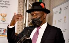 Police Minister Bheki Cele at a media briefing on 25 October 2021. Picture: GCIS