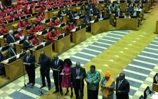 ANC president Cyril Ramaphosa, Nkosazana Dlamini Zuma, national chairperson of the African National Congress Gwede Mantashe, Lindiwe Sisulu, Bheki Cele, Zweli Mkhize, Pravin Gordhan and Naledi Pandor are sworn-in as MPs in Parliament on 22 May 2019. Picture: Jason Felix/EWN