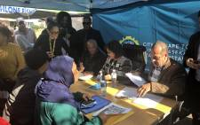 Mayor Patricia de Lille engaging with Athlone residents during the launch of a mobile office. Picture: Graig-Lee Smith/EWN