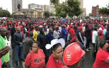 EFF supporters gather at Church Square in Pretoria for an anti-Jacob Zuma march. Picture: Barry Bateman/EWN