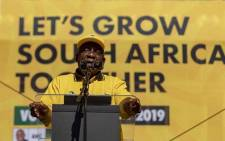 President Cyril Ramaphosa addresses thousands at the ANC Siyamnqoba rally at Ellis Park in Johannesburg on 5 May 2019. Picture: Thomas Holder/EWN
