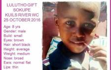 Lulutho Gift Sokupe was last seen by his grandmother on 25 October. Picture: Supplied