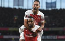 Arsenal's Pierre-Emerick Aubameyang and Alexandre Lacazette celebrate a goal. Picture: @Arsenal/Twitter