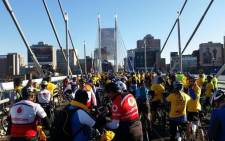 Cyclists rode through newly paved cycle lanes that the City of Johannesburg has constructed in Braamfontein and Vilakazi Street in Soweto. Picture: Twitter.