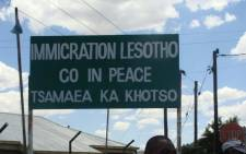An immigration sign at the Maseru Border gate in Lesotho. Picture: Christa Eybers/EWN.