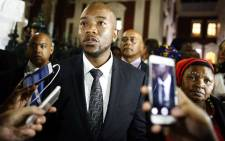 Democratic Alliance (DA) leader Mmusi Maimane (C). Picture: AFP