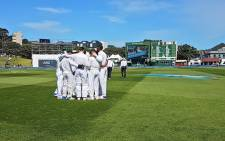 The Proteas have a team huddle during play. Picture: @OfficialCSA/Twitter