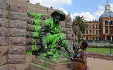 FILE: Paul Kruger and the Burghers statues splashed with green paint. Picture: Kgothatso Mogale/EWN.