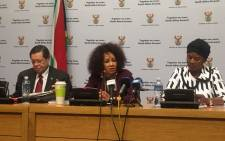 International Relations and Cooperation Minister Lindiwe Sisulu (centre) at a media briefing on 15 May 2018. Picture:  Lindsay Dentlinger/EWN