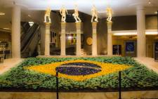 A display in a shopping centre in Sao Paulo in honour of the five times Brazil has won the World Cup. Picture: Christa Eybers/EWN