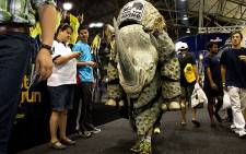 Charity runner Vincent O'Neill will attempt to become the first person to complete the Comrades Marathon in a rhino costume solo. Picture: Supplied