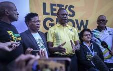 African National Congress leaders holding a press conference outside the Electoral Commission of South Africa Results Centre on 11 May. Picture: Abigail Javier/EWN.