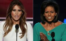 This combination of file pictures shows Melania Trump (left) addressing delegates on the first day of the Republican National Convention on 18 July 2016 and Michelle Obama greeting the Democratic National Convention on 25 August 2008. Picture: AFP.