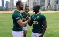 Springbok players Uzair Cassiem (left), Raymond Rhule (right) and Courtnall Skosan. Picture: @Springboks/Twitter