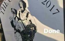 A screengrab of the controversial image used on a matric invitation by a Selborne College pupil. Picture: Supplied.