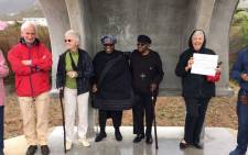 Archbishop Emeritus Desmond Tutu and his wife Leah were spotted among protesters in Hermanus. Picture: Twitter/@TutuLegacy and BennyGool.