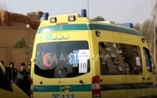 A screengrab shows paramedics on site where at least 15 people were killed after a train crash in Beheira, Egypt. Picture: youtube.com