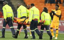 Kaizer Chiefs' Joseph Molangoane stretchered off with a broken leg. Picture: Twitter/@FreeStateStars.