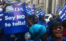 DA members march against the controversial N1/N2 toll highway project. Picture: Graeme Raubenheimer/EWN.