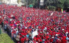 Economic Freedom Fighters supporters at a march outside the Johannesburg Stock Exchange in Sandton. Picture: Kgothatso Mogale/EWN.