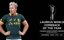 The 'Comeback of the Year' award went to Springbok flanker Schalk Burger on 15 April 2015. Picture: @LaureusSport.