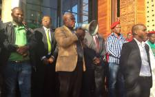 EFF leader Julius Malema addressing miners outside the Constitutional Court on 14 May 2015. Picture: Gia Nicolaides/EWN.