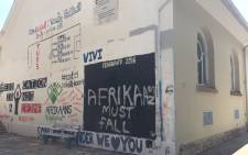 FILE: 'Afrikaans Must Fall' scrawled across a wall at the University of Pretoria amid protests over its language policy. Picture: Christa Eybers/EWN.