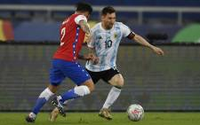 Argentina's LIonel Messi takes on his Chilean opponent during their Copa America match on 14 June 2021. Picture: @CopaAmerica/Twitter