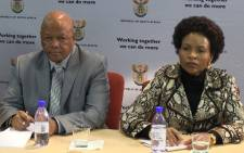 Justice Minister Jeff Radebe and Minister of international relations Maite Nkoana-Mashabane at the Guptagate report briefing held in Pretoria on 19 May 2013. Picture: Reinart Toerien/EWN