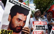 FILE: Indian protesters shout slogans during a protest against the death sentence of convicted bomb plotter Yakub Memon on 27 July 2015.. Picture: AFP.
