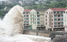 Huge waves are seen as typhoon Chan-hom comes near Wenling, east China's Zhejiang province on 10 July, 2015. Picture: AFP.