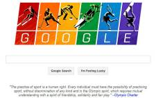 Google's landing page shows a winter sports competitor above each of the six letters. Picture: AFP.