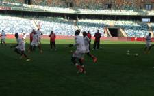 Bafana Bafana at training ahead of their clash with Sudan. Picture: EWN/Vumani Mkhize