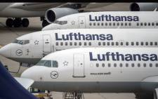This file photo taken on November 11, 2015 shows planes of German airline Lufthansa being parked at the airport in Frankfurt am Main, western Germany. The Cockpit Union trade union will call a strike on November 22, 2016 over wages dispute. Picture: AFP.