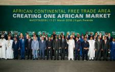 The African Heads of States and Governments pose during African Union (AU) Summit for the agreement to establish the African Continental Free Trade Area in Kigali, Rwanda, on March 21, 2018. Picture: AFP