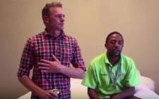 Youtube screengrab of David Scott and Kagiso Mokoape. Picture: Netwerk24 video.