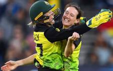 Australian players celebrate beating India to win the Women's T20 World Cup final on 8 Match 2020. Picture: Twitter/@AusWomenCricket