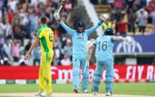 The English cricket team celebrate qualifying for the 2019 Cricket World Cup final after beating Australia in the semifinal on 12 July 2019. Picture: Twitter/@cricketworldcup