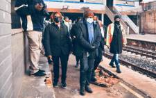 Transport Minister Fikile Mbalula at Mayfair station on 24 May 2021. The station is part of the national station improvement programme and part of the Gauteng corridors to be recovered in this year. Picture: @MbalulaFikile/Twitter.
