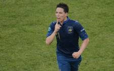 File: Former French midfielder Samir Nasri silences the crowd after a class goal against England in the Euro 2012. Picture: AFP