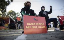 The Economic Freedom Fighters held a solidarity protest with the 'Black Lives Matter' movement outside the US embassy in Pretoria. Picture: Abigail Javier/EWN