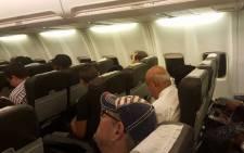 Finance Minister Pravin Gordhan flying economy to Johannesburg after SONA2016. Picture: @NchabelengAdil via Twitter