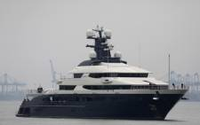 'Equanimity,' the 300-foot (90-metre) luxury yacht worth 250 million USD that belonged to Jho Low, a flamboyant international financier who allegedly played a central role in the 1MDB controversy that has engulfed former prime minister Najib Razak, arrives in Port Klang outside of Kuala Lumpur on 7 August 2018. Picture: AFP