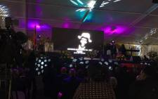 This photo shows a video display during Ray Phiri's funeral at the Mbombela Stadium on Saturday, 22 July 2017. Picture: Pelane Phakgadi/EWN.