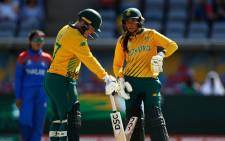Lizelle Lee and Sune Luus during their Women's T20 World Cup match against Thailand in Canberra, Australia on 28 February 2020. Picture: @OfficialCSA/Twitter