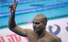 Brazilian swimmer Nicholas Santos celebrates his victory in the 50m Butterfly event at the FINA World Championships in Shanghai, China on 15 December 2018.Picture: @fina1908/Twitter