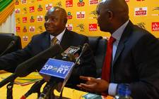 SAFA president Kirsten Nematandani and Bafana Bafana coach Pitso Mosimane. Picture: Taurai Maduna/Eyewitness News