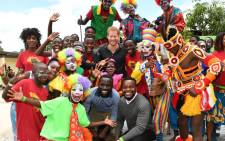 Prince Harry pictured with young people during his visit to Circus Zambia. Picture: @KensingtonRoyal/Twitter