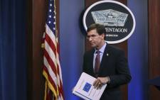 FILE: US Secretary of Defence Mark Esper exits after an end of year press conference at the Pentagon on 20 December 2019 in Arlington, Virginia. Picture: AFP