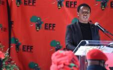 EFF leader Julius Malema addressed a small gathering during that party's Women's Day celebration at the Fourways Memorial Park at the grave of struggle hero Winnie Madikizela-Mandela on Sunday, 9 August 2020. Picture: EFF/Twitter